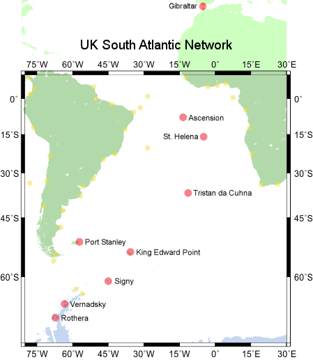 The UK South Atlantic coastal tide gauge network's sites are shown as red dots; Gibraltar is also part of this network. Yellow dots are gauges (not necessarily operational) committed to the GLOSS programme by other countries.