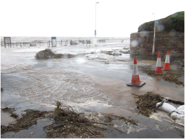 Coastal flooding during high tide at Hoylake, Wirral, on 5 December 2013